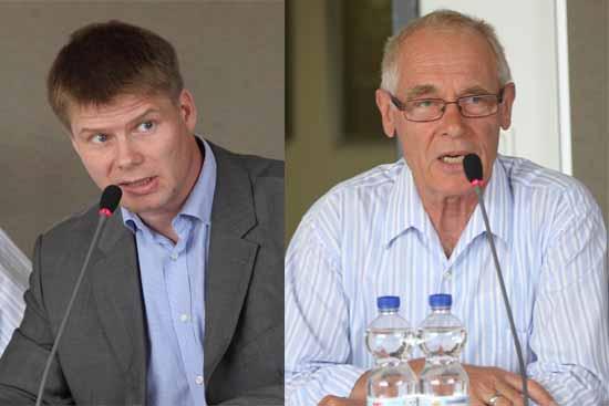 Steffen Kotre von der (AfD, links) und Wilfried Hasse (Freie Wähler, rechts) plädieren für einen neuen Flughafen Standort.