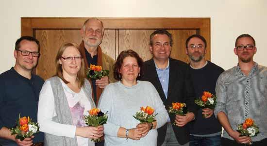 v.l.n.r.: Alfred Nordhaus, Teresa Nordhaus, Lothar Treder-Schmidt, Sabine Freund, Andreas Rieger, Gerd Kaufmann und Sebastian Koeppen. (Foto: Bündnis 90/Die Grünen)
