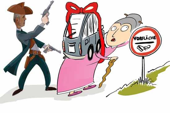 Dürfen Bürger bald nicht mehr mit dem Auto auf ihr Grundstück fahren? (Karikatur: Bliefert)
