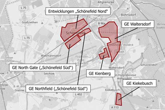Auf rund 600 Hektar werden im Bereich Schönefeld neue Gewerbeflächen entwickelt (Präsentation IHK Cottbus)