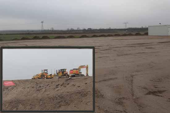 Die Erdarbeiten im Gewerbegebiet Kiekebusch haben begonnen. (Foto: mwBild)