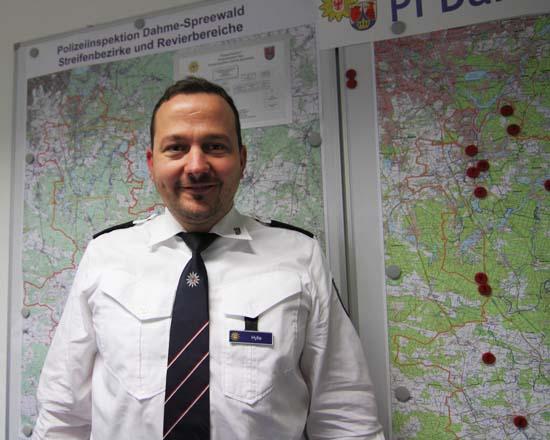 Christian Hylla, Chef der Polizeiinspektion Dahme - Spreewald, sorgt mit seinen rund 200 Polizisten für die Sicherheit im Landkreis. (Foto:mwBild)