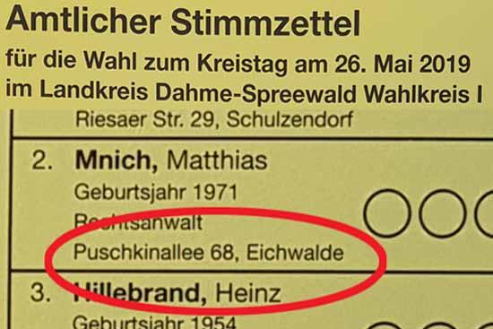 Nach dem amtlichen Stimmzettel für die Wahl zum Kreistag ist Mnich Eichwalder. (Bildmontage: mwBild)