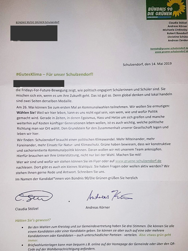 Grüne: Wahlwerbung an Erstwähler per Brief ist erlaubt – Fragen bleiben dennoch!