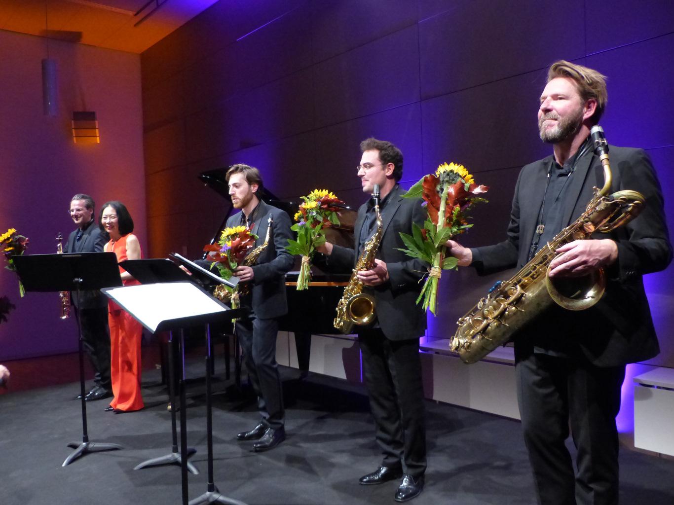 Alliage Quintett in einer einzigartigen Besetzung aus vier Saxophonen und einem Klavier auf den Schlosskonzerten Königs Wusterhausen. Foto: Norbert Vogel