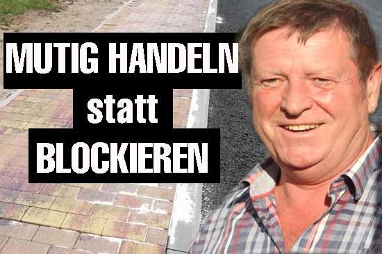 Bürger gehen auf Gehweg – Blockierer los