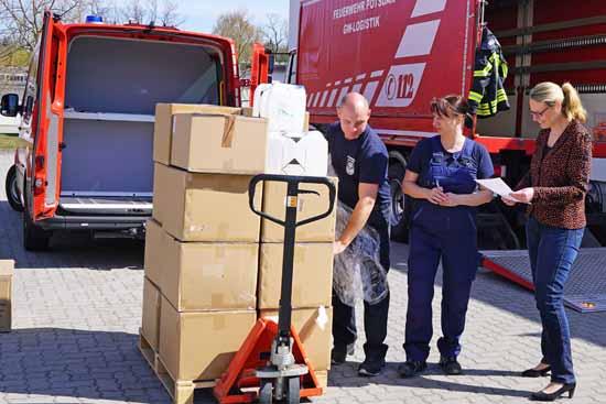 In Brandenburg sind Mundschutzmasken eingetroffen. ( Foto: msgiv.brandenburg.de)
