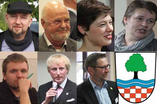 Zeuthens Fraktionschefs: Obere Reihe (v.l.) – Andre Tripke (AfD), Dieter Karczewski (BfZ), Anika Darmer (Bündnis 90/Die Grünen), Nadine Selch (CDU); Untere Reihe (v.l.) – Robert Seelig (Die Linke), Karl Uwe Fuchs (FDP), Heiko Witte (SPD), Fotos: mwBild