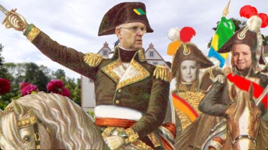 Dieser Akt von Landrat Loge dürfte nicht zur Entspannung der Situation in Königs Wusterhausen beitragen. (Karikatur/Bildmontage: Bliefert)