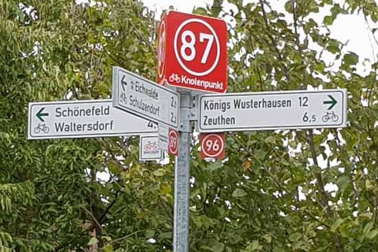 Die ausgewiesene Strecke Richtung KP 89 führt gar nicht nach Eichwalde.