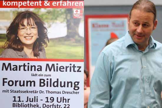 Martina Mieritz mit Staatssekretär Drescher im SPD-Wahlkampf (Foto: mwBild)
