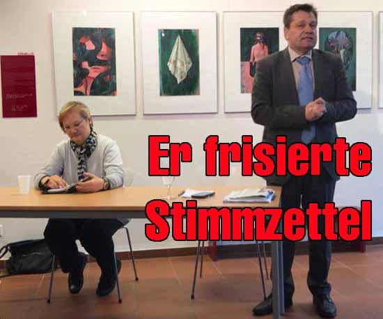 Tauche posierte mit Linken-WAHLFÄLSCHER