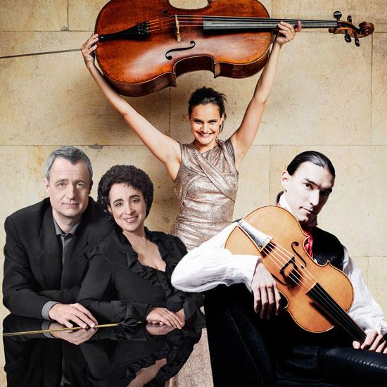 Raphaela Gromes, Yaara Tal & Andreas Groethuysen und Sergey Malov spielen das Abschlusskonzert. (Foto: Schlosskonzerte)